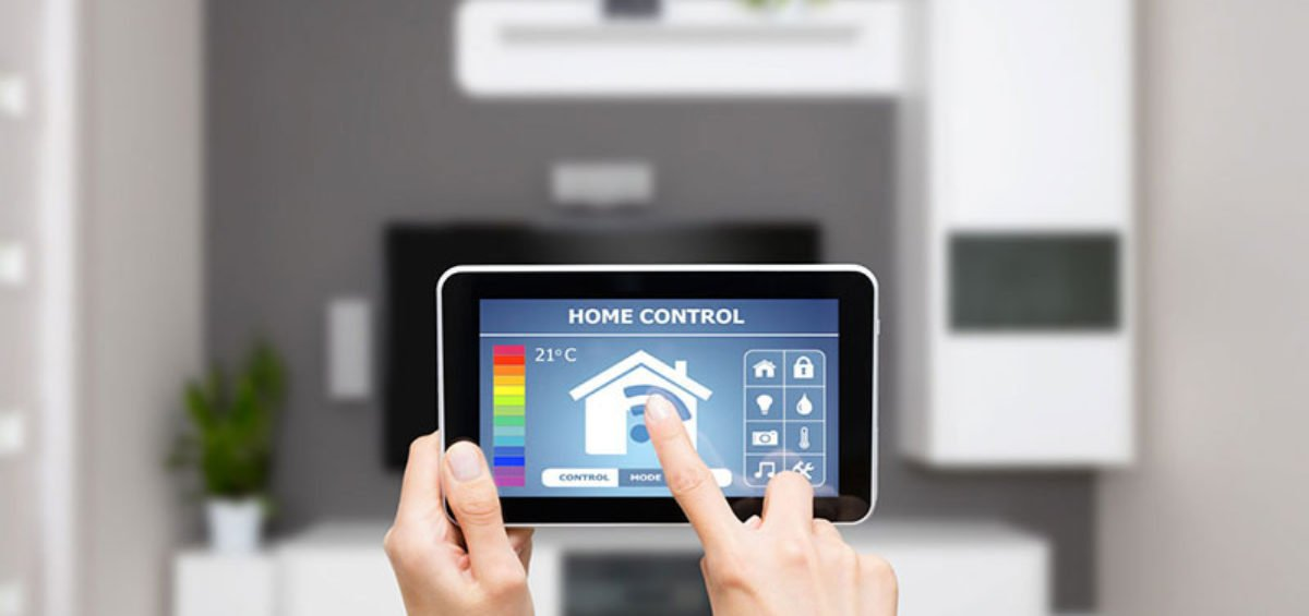 point of view of someone pressing a smart home device